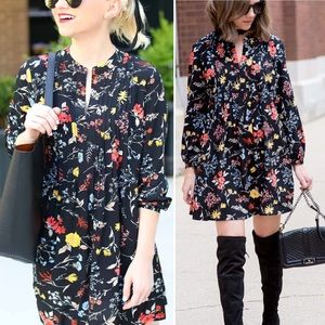 Old Navy Black Floral Long Sleeve Dress